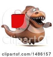 3d Brown Tommy Tyrannosaurus Rex Dinosaur Mascot Holding A Shopping Bag On A White Background