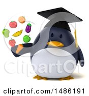 Clipart Of A 3d Chubby Penguin Graduate Holding Produce On A White Background Royalty Free Illustration