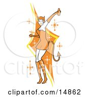 Poster, Art Print Of Attractive Woman In A Tight Orange Dress Gloves And Tall Boots And Forked Devil Tail Dancing While Drinking At A Halloween Party