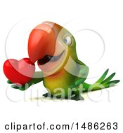 Clipart Of A 3d Green Macaw Parrot On A White Background Royalty Free Vector Illustration