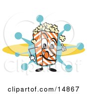 Popcorn Carton Character Filled With Buttery Popcorn Clipart Illustration