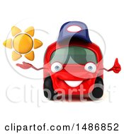 3d Little Red Mechanic Car On A White Background