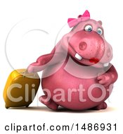 3d Pink Henrietta Hippo Character With A Suitcase On A White Background