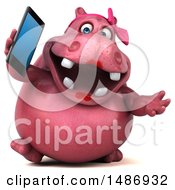 3d Pink Henrietta Hippo Character Talking On A Cell Phone On A White Background