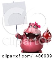 Clipart Of A 3d Pink Henrietta Hippo Character Holding A Blood Drop On A White Background Royalty Free Illustration