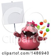 Clipart Of A 3d Pink Henrietta Hippo Character Holding Produce On A White Background Royalty Free Illustration