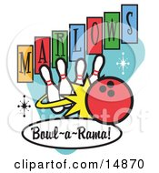 Red Bowling Ball Crashing Into Bowling Pins On A Vintage Marlows Bowl O Rama Sign Clipart Illustration
