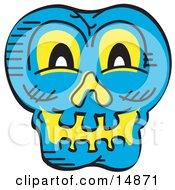 Scary Blue Halloween Skull Glowing With Yellow Light Clipart Illustration