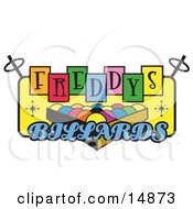 Rack Of Pool Balls On A Vintage Colorful Freddys Billiards Sign Clipart Illustration