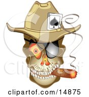 Evil Skeleton Cowboy With An Ace Of Spades In His Hat Smoking A Cigar