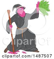 Clipart Of A Sketched Grime Art Styled Wizard Casting A Spell Royalty Free Vector Illustration