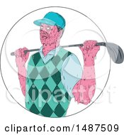 Sketched Grime Art Styled Golfer With A Club Over His Shoudler