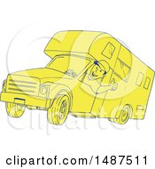 Clipart Of A Sketched Man Driving A Camper Van Royalty Free Vector Illustration