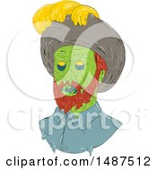 Clipart Of A Sketched Grime Art Styled Spanish Conquistador Royalty Free Vector Illustration