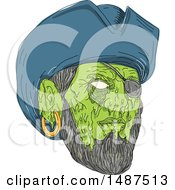 Clipart Of A Sketched Grim Art Styled Pirate Face Royalty Free Vector Illustration by patrimonio