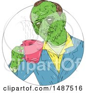 Clipart Of A Sketched Grim Art Styled Man Drinking Coffee In A Circle Royalty Free Vector Illustration