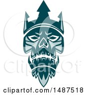 Clipart Of A Teal Neptune Skull Wearing Trident Crown Royalty Free Vector Illustration