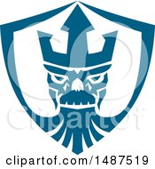 Clipart Of A Neptune Skull Wearing Trident Crown In A Shield Royalty Free Vector Illustration