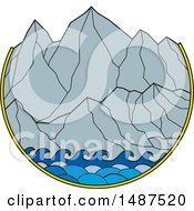 Clipart Of A Scene Of Waves And Mountains Royalty Free Vector Illustration