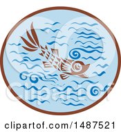 Clipart Of A Medieval Styled Fish In Water Royalty Free Vector Illustration