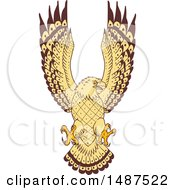 Clipart Of A Sketched Sea Hawk Osprey Bird Swooping Royalty Free Vector Illustration