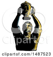 Worker Holding Up Championship Trophy Cup On A White Background