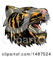 Clipart Of A Roaring Tiger Head On A White Background Royalty Free Illustration by patrimonio