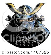 Clipart Of A Samurai Warrior Wearing Facial Armor Mempo Or Mengu Mask On A White Background Royalty Free Illustration by patrimonio