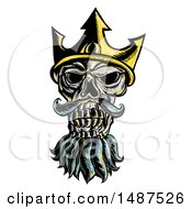 Poster, Art Print Of Skull Of Neptune Poseidon Or Triton Wearing A Trident Crown On A White Background