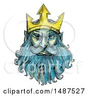 Poster, Art Print Of Neptune Poseidon Or Triton With A Trident Crown On A White Background