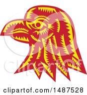 Woodcut Eagle Head In Profile
