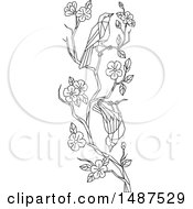 Low Polygon Styled Cherry Blossom Branch With Japanese White Eye Birds