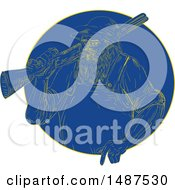 Clipart Of A Retro Engraved Hunter With A Rifle In A Blue Circle Royalty Free Vector Illustration by patrimonio