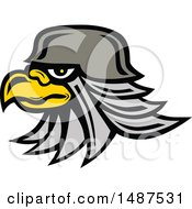 Clipart Of A Profiled Bald Eagle Head Wearing A Helmet Royalty Free Vector Illustration