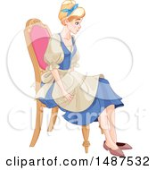 Young Woman Cinderella Sitting In A Chair And Trying On A Shoe