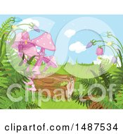 Clipart Of A Nature Background With Wildflowers Ferns A Log And Mushrooms Royalty Free Vector Illustration by Pushkin