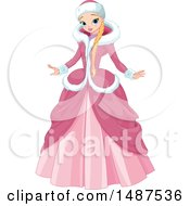 Clipart Of A Winter Princess In A Pink Gown And Coat Royalty Free Vector Illustration