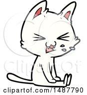 Cartoon Sitting Cat Hissing