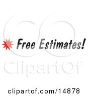 Free Estimates Sign With A Star Burst Clipart Picture by Andy Nortnik