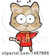 Cartoon Surprised Cat Wearing Warm Winter Clothes
