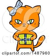 Cute Cartoon Cat With Present