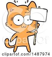 Cartoon Surprised Cat Waving Sign