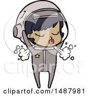 Cartoon Pretty Astronaut Girl Taking Off Helmet by lineartestpilot