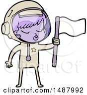 Poster, Art Print Of Cartoon Pretty Astronaut Girl Planting Flag