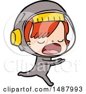 Cartoon Astronaut Woman Running
