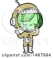 Cartoon Crying Astronaut Girl