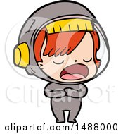 Cartoon Astronaut Woman Explaining