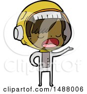 Cartoon Astronaut Woman Explaining by lineartestpilot
