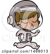 Cartoon Pretty Astronaut Girl Running by lineartestpilot