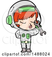 Cartoon Pretty Astronaut Girl by lineartestpilot